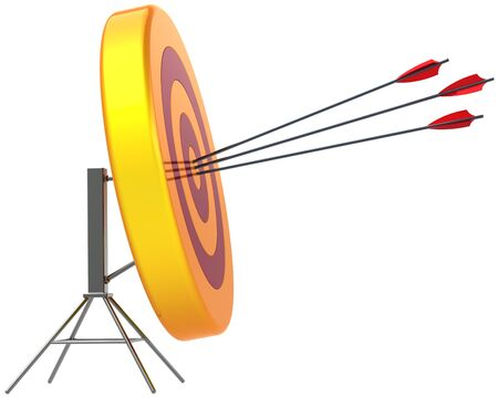 Target hitting by arrows in bulls eye. Perfect accuracy sniper shooting. Lucky business concept. Detailed 3d render. Isolated on white background Stock Photo - 10418247