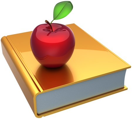 erudition: School book and apple colored golden red. Education knowledge reading erudition bible symbol concept. Detailed 3d render. Isolated on white background Stock Photo