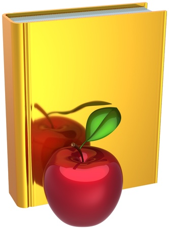 erudition: Back to school abstract. Golden book and red apple. Education knowledge reading erudition idea bible symbol concept. Detailed 3d render. Isolated on white background