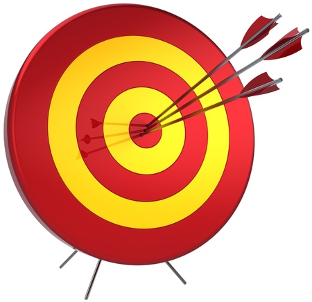 Success target lucky shooting concept. Hitting by three arrows in bulls eye. Perfectly accuracy sniper win. Detailed 3d render. Isolated on white background Banque d'images