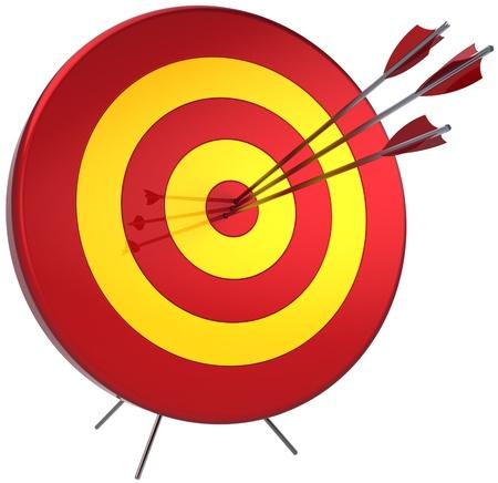 excelente: �xito el concepto de tiro de suerte. Golpear por tres flechas en el blanco. Perfectamente francotirador exactitud ganar. 3d detallada. Aisladas sobre fondo blanco