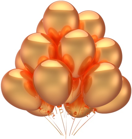 Golden party balloons luxury decoration of happy birthday holiday. Anniversary graduation celebration retirement occasion concept. Childhood abstract. Detailed 3d render. Isolated on white background Stock Photo