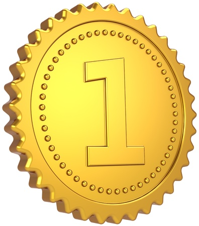 Golden first place award medal. Leadership pride champion winner achievement badge design element. The best Number One success motivation concept. Detailed 3d render. Isolated on white background Stock Photo - 10444978