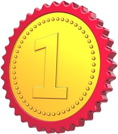 First place badge medal award golden with red border. The best Number One champion pride concept. Leadership achievement motivation design element. Detailed 3D render. Isolated on white background photo
