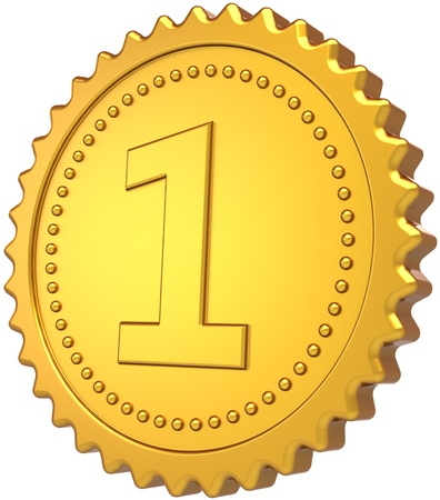 First place golden badge medal award. Champion winner achievement pride symbol design element. The best number one success motivation leader concept. Detailed 3d render. Isolated on white background photo