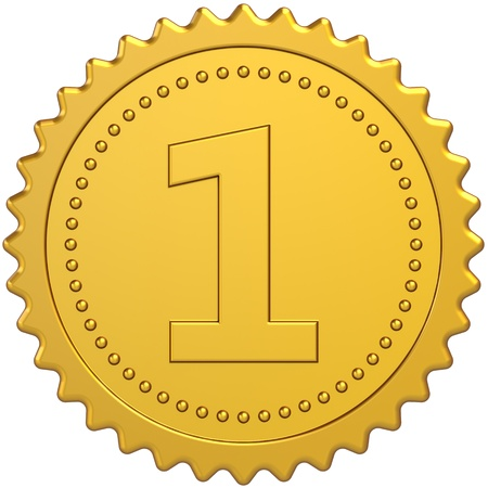 Golden award first place medal badge. Winner achievement pride symbol. Number One quality success concept. Detailed 3d render. Isolated on white