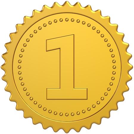 primer lugar: Primer lugar Premio Golden medalla insignia. S�mbolo de orgullo de logro de ganador. Concepto de �xito n�mero uno de calidad. Detallado procesamiento 3d. Aislado en blanco Foto de archivo