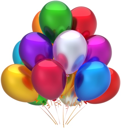 Party balloons birthday holiday decoration beautiful multicolored. Happy joy childhood abstract. Detailed 3d render