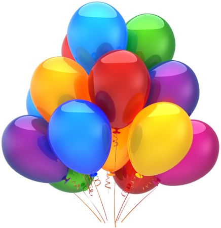 Happy birthday balloons party decoration shiny multicolored. Holiday graduation anniversary retirement celebration concept. Joy fun childhood abstract. Detailed 3d render. Isolated on white background Stock Photo