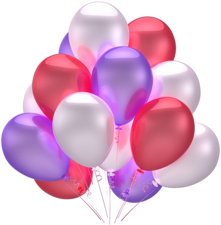 Birthday party balloons decoration beautiful multicolored. Anniversary holiday graduation retirement celebration concept. Childish happy joy abstract. Detailed 3d render. Isolated on white background photo