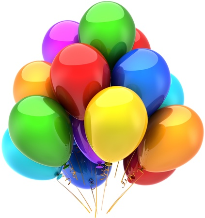 Balloons birthday party holiday celebration decoration multicolor. Anniversary retirement graduation sale concept. Happy fun joy childhood abstract. Detailed render 3d. Isolated on white background