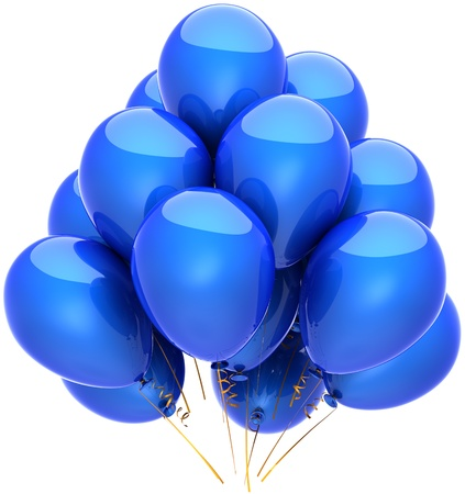 Party balloons blue holiday birthday decoration classic Anniversary retirement graduation celebration concept. Fun joy happy childish emotion abstract. Detailed render 3d. Isolated on white background