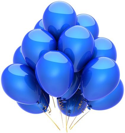 Party Balloons blau Geburtstag Dekoration klassische Jahrestag Ruhestand Abschluss Feier Ferienkonzept. Spaß freude freudig kindisch Emotion abstrakt. Detaillierte 3d rendern. Isoliert auf weißem Hintergrund