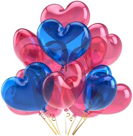 best party: Festa di compleanno palloncini Amore cuori blu decorazione di colore rosa. Romantic matrimonio astratto vacanza felice. Festa di nozze saluto concetto di carta. Dettagliata render 3d. Isolato su sfondo bianco
