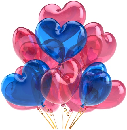 Party balloons birthday Love hearts decoration colored pink blue. Romantic holiday happy marriage abstract. Wedding celebration greeting card concept. Detailed 3d render. Isolated on white background