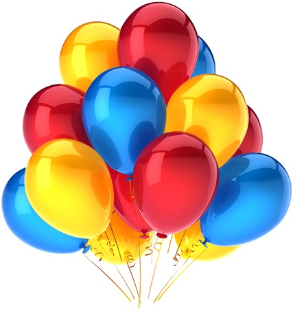 Party balloons happy birthday decoration multicolor red yellow blue. Holiday anniversary graduation retirement celebration concept. Joy fun abstract. Detailed 3d render. Isolated on white background