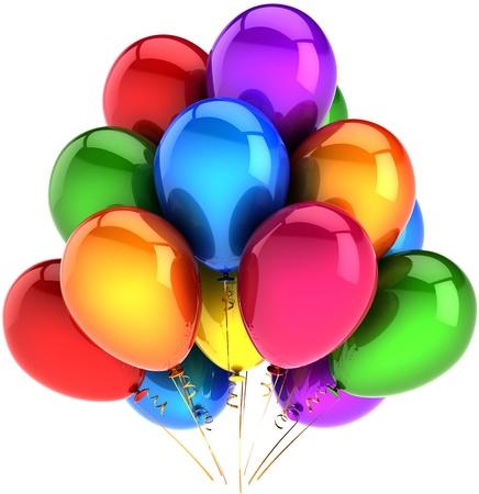 globos de cumpleaños: Globos de fiesta feliz cumpleaños vacaciones multicolor arco iris como decoración. Felicidad diversión de las fiestas abstracto. Saludo celebración tarjeta concepto. 3d detallada. Aisladas sobre fondo blanco Foto de archivo