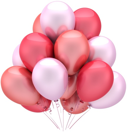 hues: Balloons party birthday romantic Love decoration colored pink hues. Holiday abstract. Anniversary celebration marriage wedding greeting card concept. Detailed 3D render. Isolated on white background
