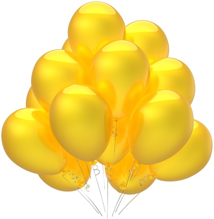 Birthday balloons party decoration colored sunny yellow. Anniversary vacation holiday retirement graduation sale concept. Childish happy joy abstract. Detailed render 3d. Isolated on white background