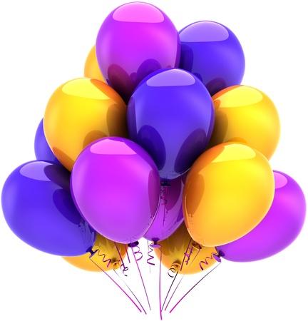 festive occasions: Globos cumplea�os fiesta multicolor decoraci�n azul morado amarillo. Resumen de felices fiestas. Concepto de tarjeta de felicitaci�n de graduaci�n de celebraci�n del aniversario. Procesamiento 3D detallada. Aisladas sobre fondo blanco Foto de archivo