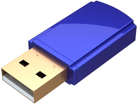 dongle: USB Flash drive computer removable memory storage device equipment colored blue. Generic mobile digital ram. System files save backup icon concept. Detailed 3d render. Isolated on white background