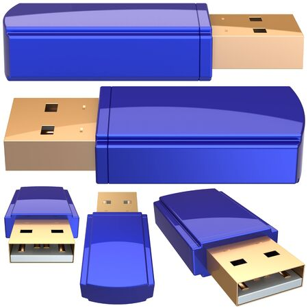usb various: USB Flash memory drive removable storage computer device equipment colored blue. Set of generic mobile digital RAM at various viewpoints. Data save backup icon. Detailed 3d render. Isolated on white