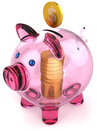 Hucha en vidrio con pila de monedas dentro. Dinero pago financiación bancaria donar el concepto de riqueza de ahorro. Procesamiento 3D tridimensionales detalladas. Aisladas sobre fondo blanco Foto de archivo - 10518639