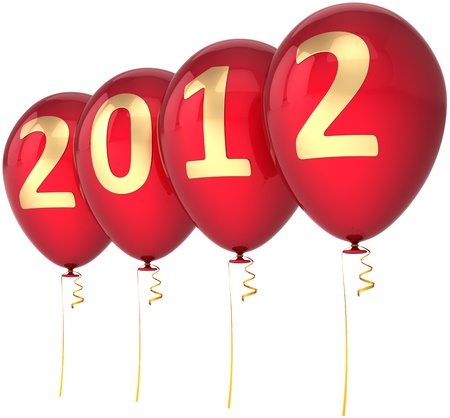 New Year 2012 balloons party decoration colored red with golden date. Marry Christmas happy joy fun abstract. Beautiful advent calendar design element. Detailed 3d render. Isolated on white background Standard-Bild