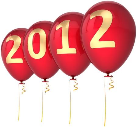 Nouvelle Année 2012 ballons rouges décoration colorée parti avec la date d'or. Marry abstrait heureuse joie fun. Belle conception de l'élément avènement du calendrier. Détail rendu 3d. Isolé sur fond blanc Banque d'images - 10548806