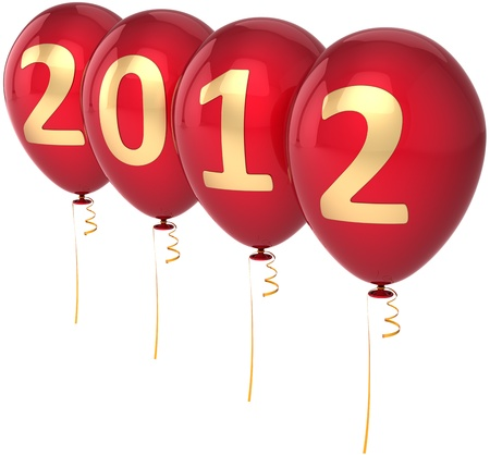 New 2012 Year party balloons decoration colored red with golden date. Marry Christmas happy joy fun abstract. Beautiful advent calendar design element. Detailed 3d render. Isolated on white background Standard-Bild