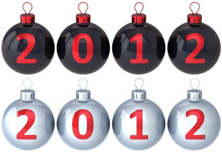 New 2012 Year baubles Christmas balls decorated with calendar date. Set of black and silver classic Xmas decoration. Traditional winter design element. Detailed 3d render. Isolated on white background photo