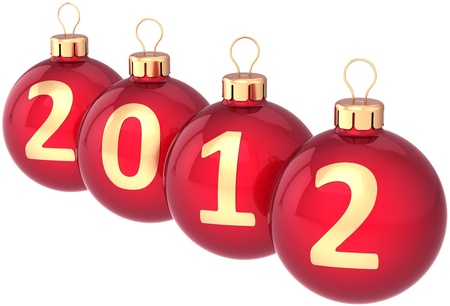 New 2012 Year baubles Christmas balls colored red decorated with golden date. Beautiful Traditional Xmas decoration. Calendar design element classic. Detailed 3d render. Isolated on white background Standard-Bild