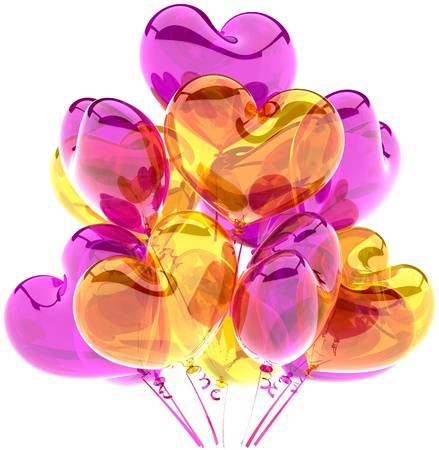 Party balloons Happy birthday decoration in form of heart shapes yellow purple. Romantic Love abstract. Wedding celebration greeting card concept. Detailed 3d render. Isolated on white background Standard-Bild