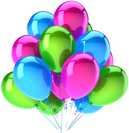 Balloons birthday party decoration of holiday colored cyan pink green. Happy childhood abstract. Anniversary celebration graduation retirement concept. Detailed 3d render. Isolated on white background