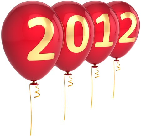 New 2012 Year balloons party decoration colored red with golden date. Merry Christmas happy joy fun abstract. Beautiful design element for calendar. Detailed 3d render. Isolated on white background