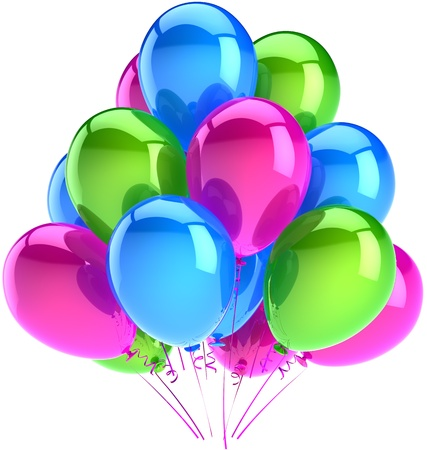 Birthday party balloons decoration of holiday colored blue pink green. Anniversary celebration graduation retirement concept. Happy childhood abstract. Detailed 3d render. Isolated on white background Standard-Bild