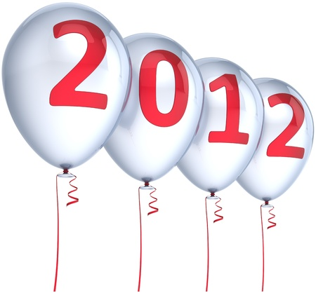 New Year 2012 balloons party decoration colored silver with red date. Merry Christmas joy fun winter celebration abstract. Calendar design element. Detailed 3d render. Isolated on white background photo