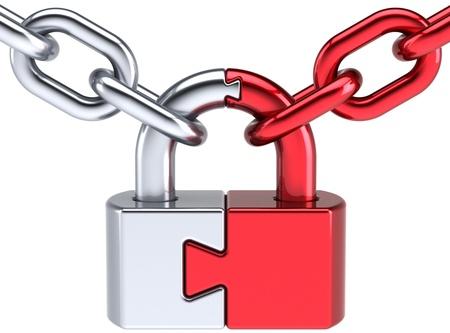 broken link: Bloccare PadLock Security salvaguardia. Password tenere concetto di icona. Chiuso il puzzle di legame segreto codice astratto crittografia. Dettagliata render 3d. Isolato su sfondo bianco