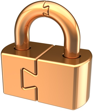 Lock padlock closed guard. Security password hold golden icon concept. Puzzle link secret code encryption abstract. Detailed 3d render. Isolated on white background Stock Photo - 10685195