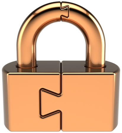Lock padlock closed guard. Security password hold icon concept. Golden puzzle link secret code encryption abstract. Detailed 3d render. Isolated on white background photo