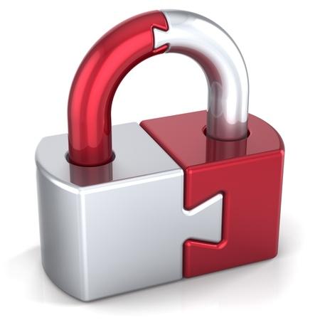 개인 정보 보호: 자물쇠 보안 보호를 잠급니다. 강력한 암호 보류 아이콘 개념입니다. 닫힌 된 퍼즐 링크 비밀 번호 암호화 개요입니다. 상세한 3D 렌더링합니다. 흰색 배경에 고립 스톡 사진