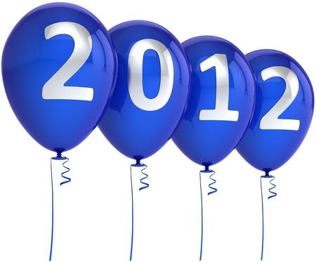 Ballons Nouvelle Année 2012 Party Decoration bleue avec date d'argent. Élément de design pour le concept de calendrier. Joyeux Joyeux abstraite joie de Noël. Détail rendu 3d. Isolé sur fond blanc Banque d'images - 10798102