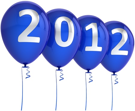 graduation countdown: New 2012 Year balloons blue party decoration with silver date. Design element for calendar concept. Happy Merry Christmas joy abstract. Detailed 3d render. Isolated on white background