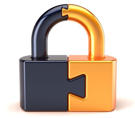 to lock: Blocco di sicurezza dei dati lucchetto di salvaguardia. Collegamento Puzzle chiuso cifratura segrete codice astratto di colore oro nero. Password di accesso concetto di sistema icona. Dettagliate rendering 3D. Isolato su sfondo bianco