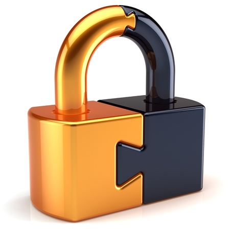 Lock padlock security password safeguard. Closed puzzle link secret code encryption abstract colored golden black parts. System access icon concept. Detailed 3d render. Isolated on white background Banque d'images