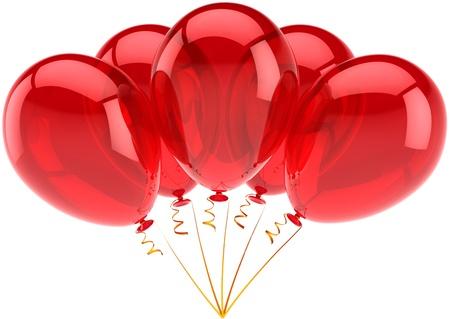fondo de graduacion: Feliz cumplea�os globos rojos decoraci�n de parte de la celebraci�n de la fiesta. Concepto de graduaci�n de ocasi�n de retiro de aniversario. Resumen de la alegr�a infantil feliz. Detallado procesamiento 3d. Aisladas sobre fondo blanco Foto de archivo