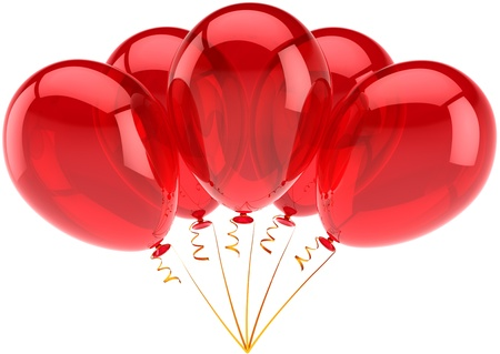 Happy birthday balloons red party decoration of holiday celebration. Anniversary retirement occasion graduation concept. Happy childish joy abstract. Detailed 3d render. Isolated on white background photo