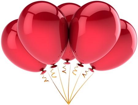 globos de cumplea�os: Feliz cumplea�os globos de la decoraci�n de cinco partidos de vacaciones brillante de color rojo. Diversi�n de la ni�ez alegr�a abstracta. Aniversario concepto de celebraci�n de su jubilaci�n. 3d detallada. Aisladas sobre fondo blanco