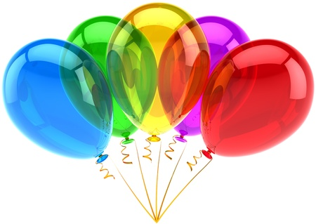 Party balloons birthday decoration five multicolor translucent. Holiday anniversary retirement graduation celebration concept. Happy joy fun abstract. Detailed 3d render. Isolated on white background