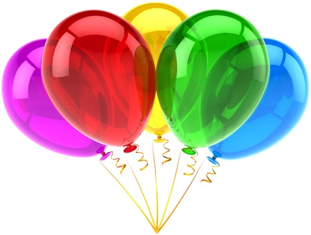 Ballons heureux de décoration cinq translucides multicolores. Abstraite joie fun. L'obtention du diplôme de retraite de vacances anniversaire de célébrer la notion. Détail rendu 3d. Isolé sur fond blanc Banque d'images - 10870455